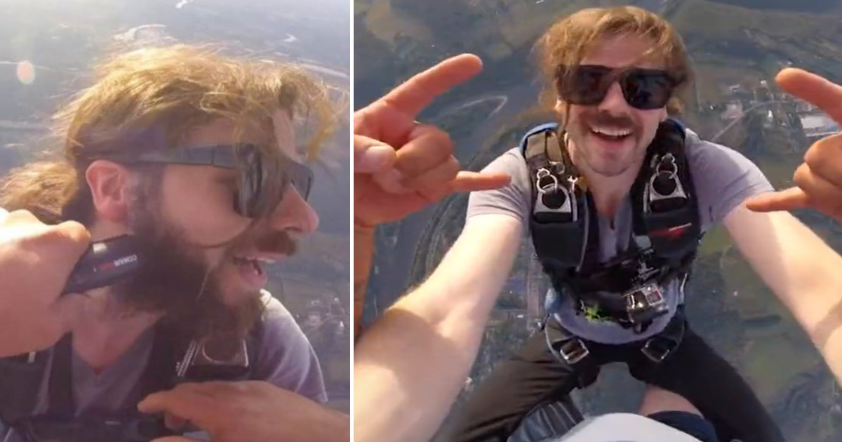 a 59.jpg - Skydiver Celebrated 400th Dive By Getting His Beard Trimmed While Jumping From Height Of 10,500 Feet
