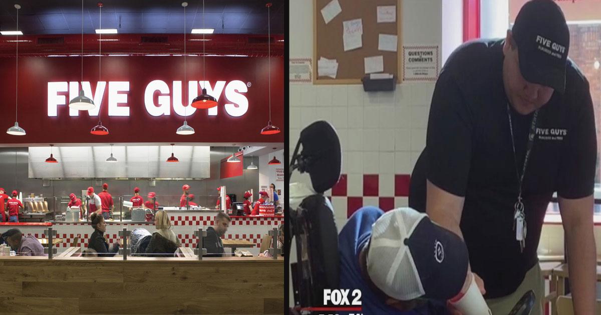 untitled 1 45.jpg - Le responsable de ce restaurant Five Guys a offert un repas gratuit et aidé un client malade qui avait du mal à manger par lui-même.