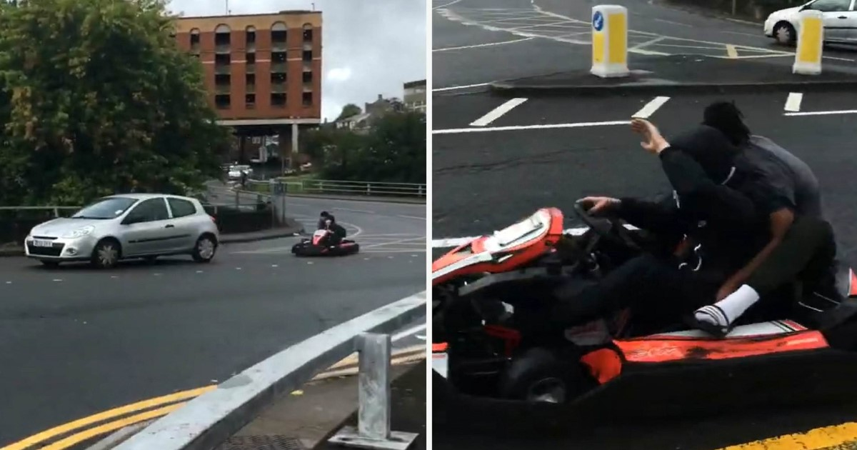 a 23.jpg - Two Teenagers Spotted Racing Around In Go-Karts At A Busy Roundabout