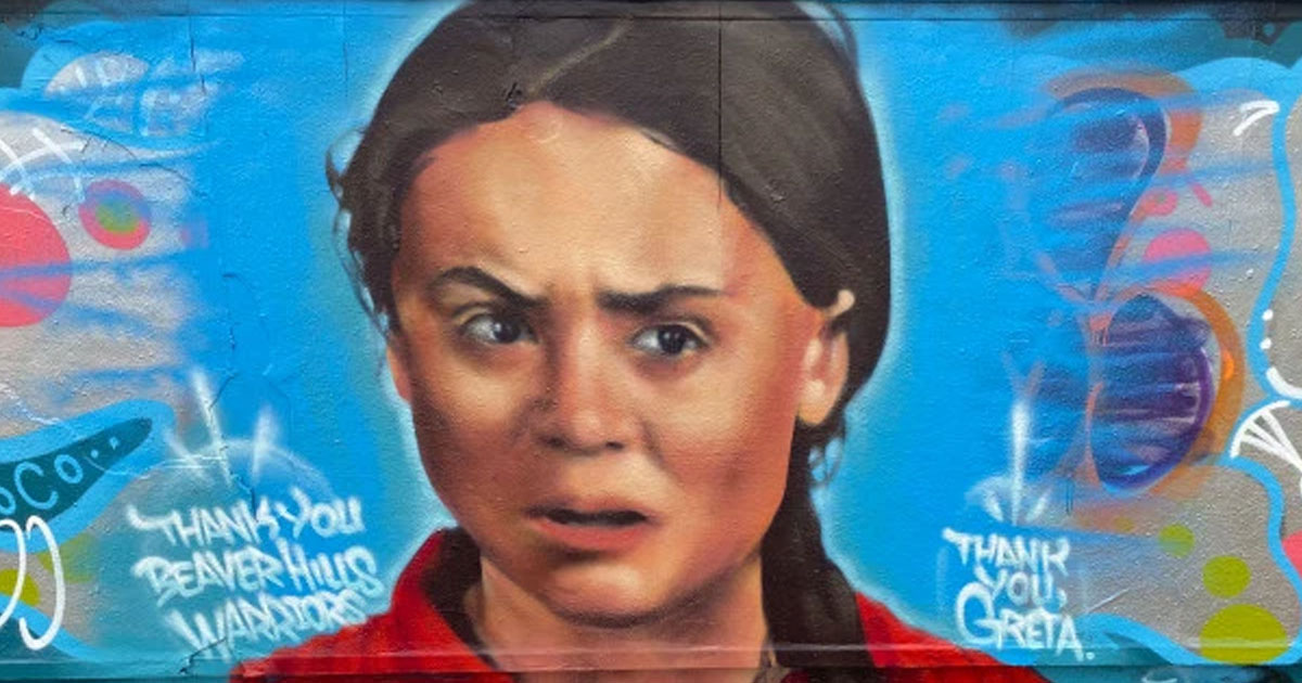 "greta thunbergs mural vandalised with a slur and pro oil messages.jpg - Greta Thunberg's Mural Vandalized In Canada - ""This Is Oil Country"""