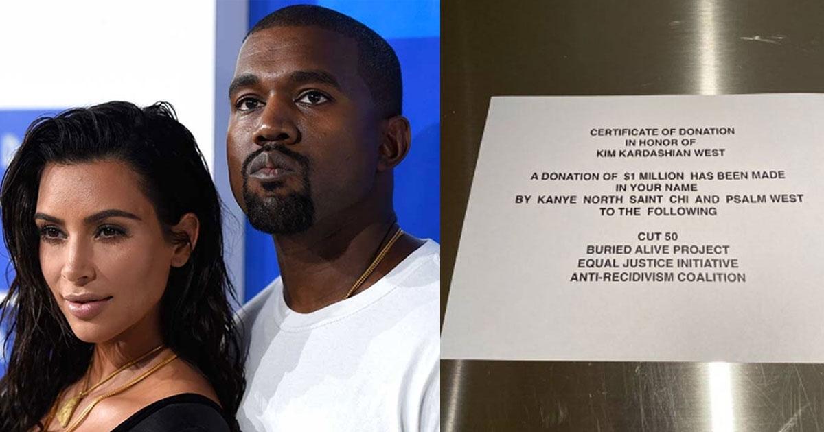 kanye west made 1 million donation to charity for kim kardashians birthday.jpg - Kanye West Made $1 Million Donation To Charity For Kim Kardashian's Birthday