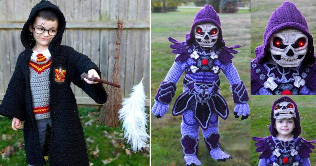 mother crotchet halloween costumes.jpg - Mother Makes Incredible Halloween Crochet Costumes For Her Four Boys