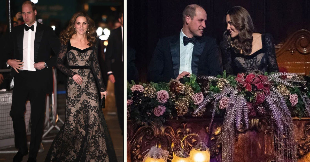 untitled 1 63.jpg - Kate Middleton était radieuse dans sa robe noire Alexander McQueen, avec le prince William lors du Royal Variety Performance