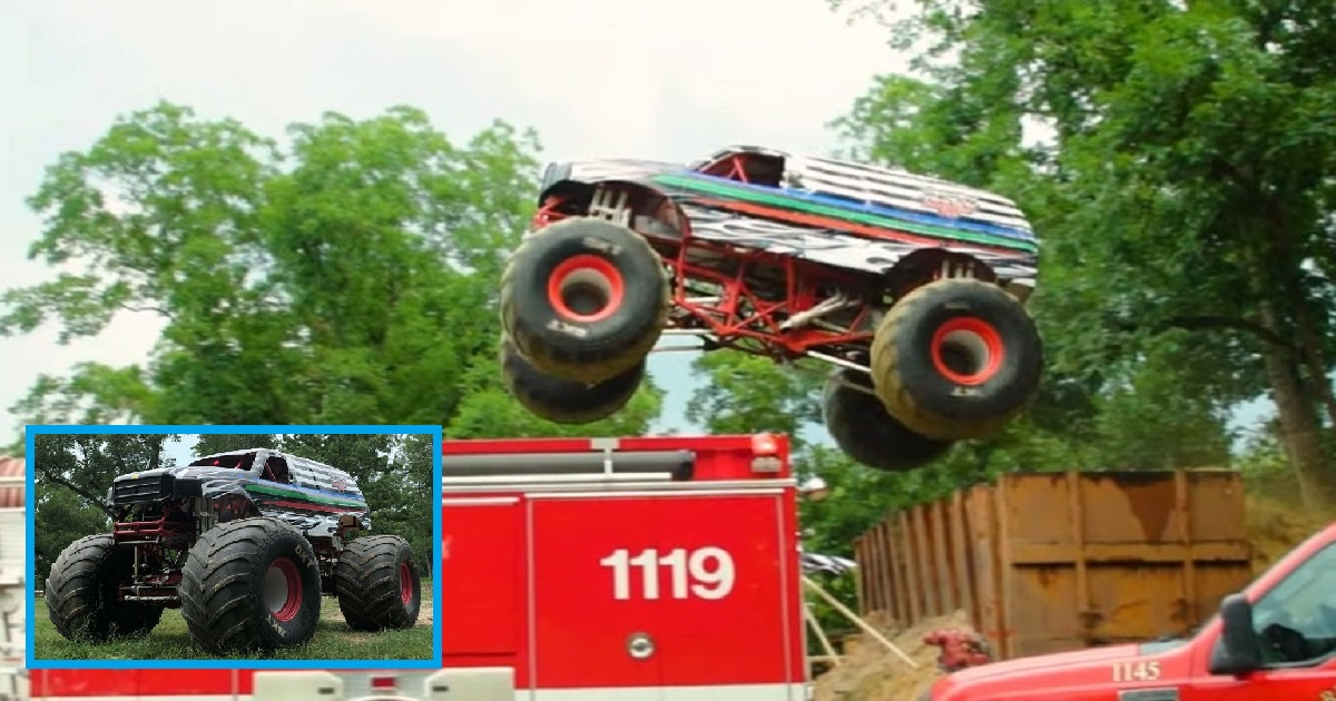 m3 1.jpg - A 10-Ton Truck Jumped Over A Fire Truck And Two Police Cars Successfully In A Stunt
