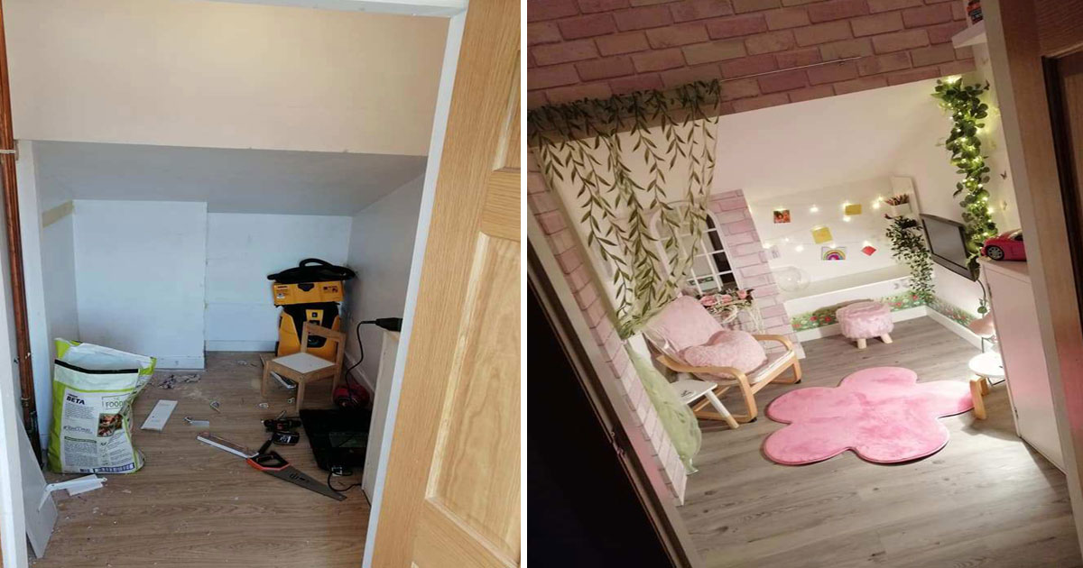 mother turned giant cupboard magical den playhouse.jpg - Mother Turned Her Giant Cupboard Under The Stairs Into A Magical Playhouse For Her Little Girl