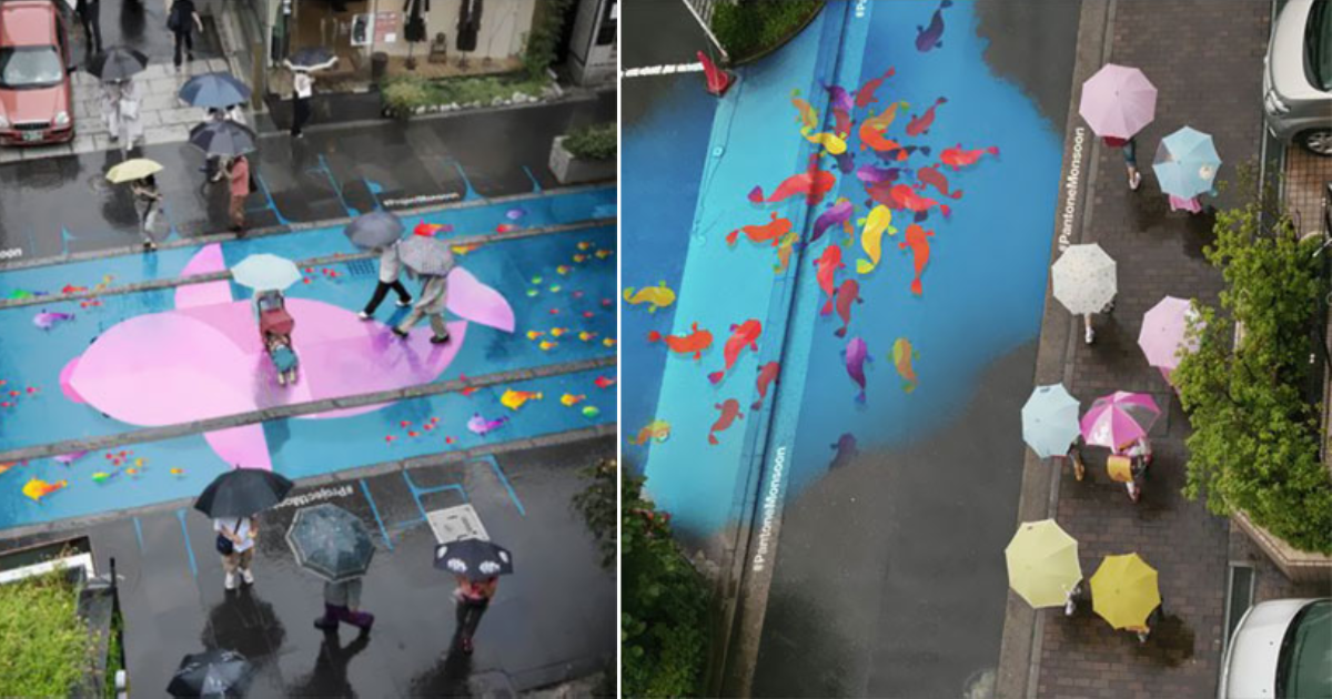 rain appear.png - Beautiful Colorful Murals Appear On Roads Only On Rainy Days