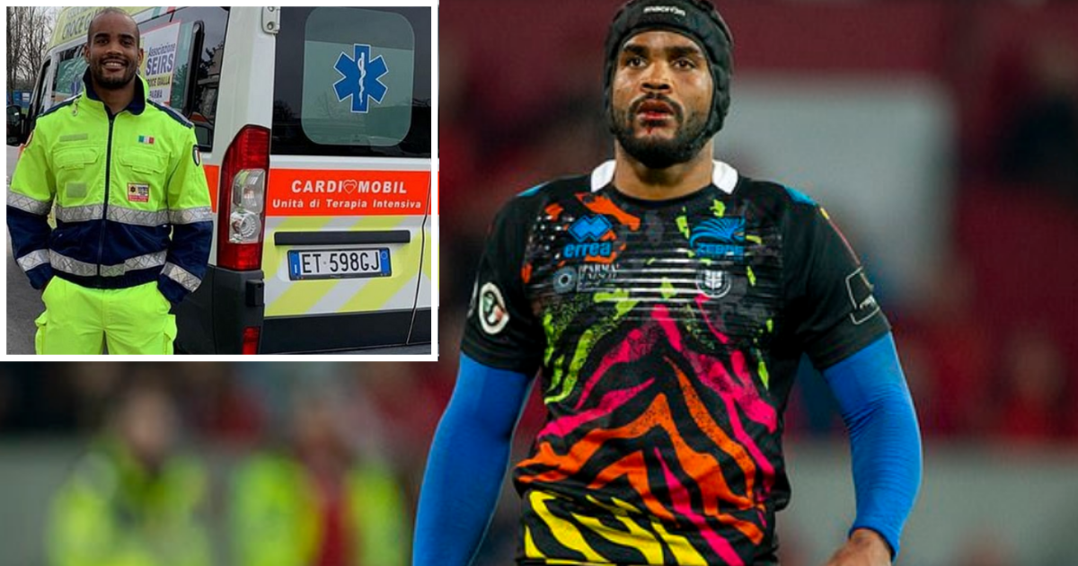 1 65.png - Italy's Rugby Star Maxime Mbanda Is Driving Ambulance For 13 Hours Each Day To Help His Country