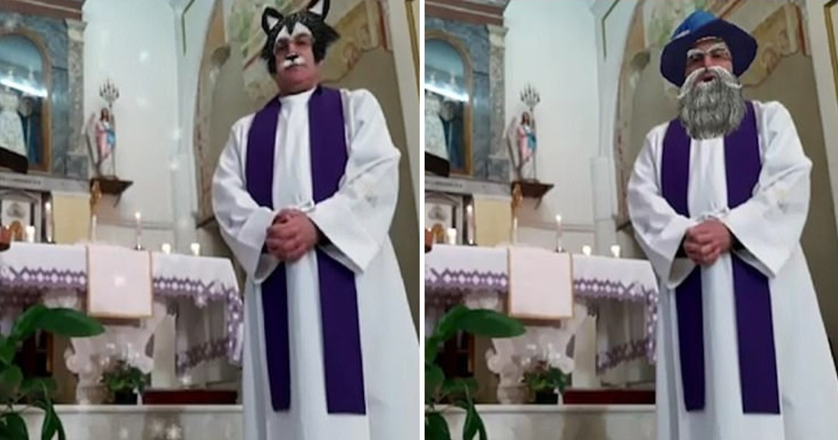 2 131.jpg - A Priest Mistakenly Turned On Video Filters While Conducting An Online Mass
