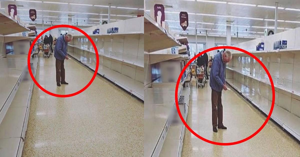 roujin.jpg - 新型コロナウイルスの影響でスーパーで買い占めをはかるも品切れの棚を見てはうなだれる老人が切なすぎる…