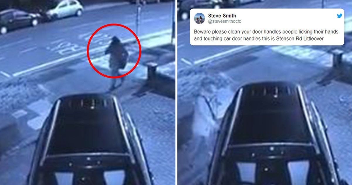 d3.jpg - A Stranger Caught Licking His Hand And Touching Peoples' Car Door Handles On CCTV