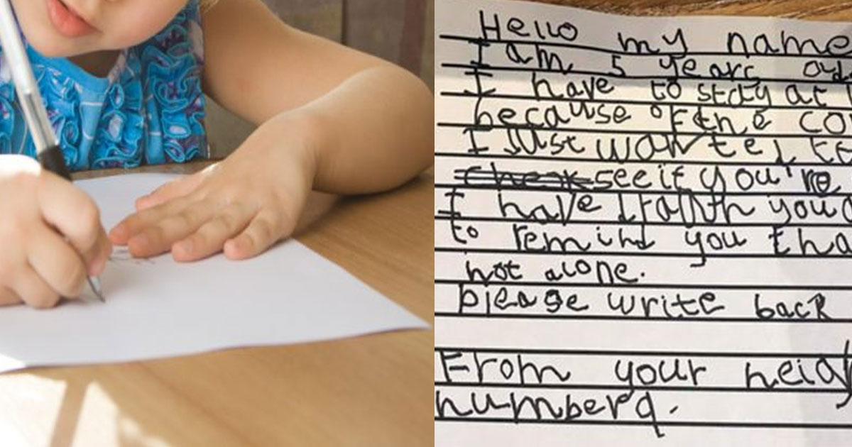 five year old girl wrote a letter to a 93 year old neighbour who is self isolating to remind him he was not alone.jpg - 5-Year-Old Girl Wrote A Letter To A 93-Year-Old Neighbor Who Is Self-Isolating To Remind Him He Was Not Alone