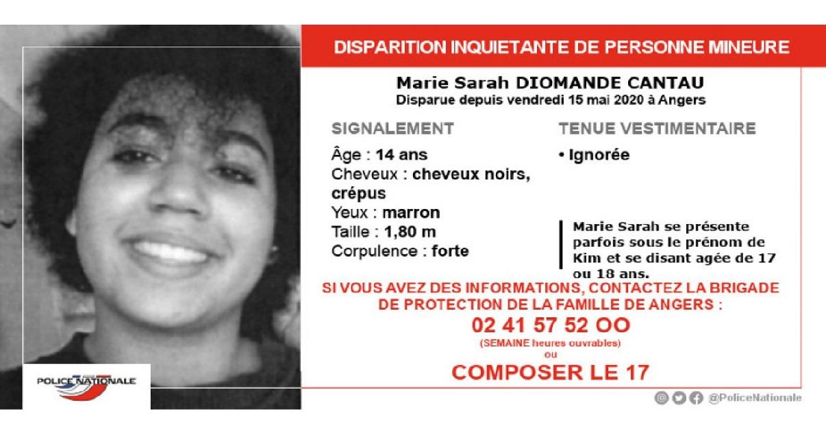 anger.jpg - Angers: Marie Sarah Diomande Cantau, une ado de 14 ans, a disparu depuis dix jours
