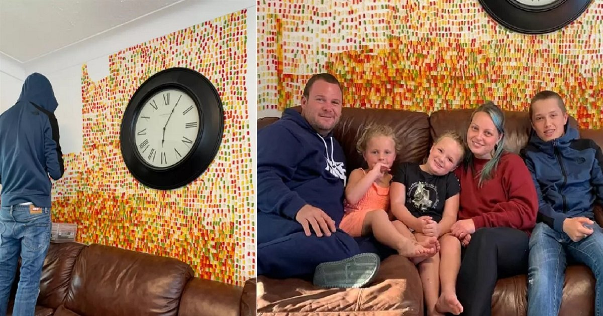 "bears.jpg - Man's Partner Wanted ""Tasteful"" Decorations So He Covered Their Wall With 6,000 Gummy Bears"