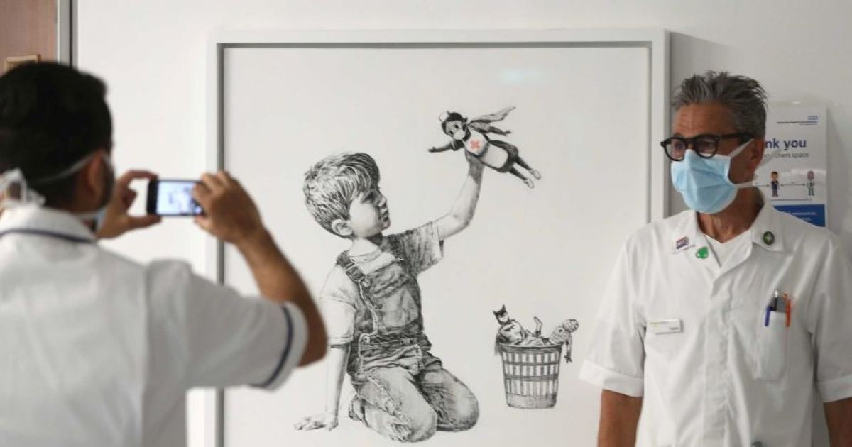 ec8db8eb84ac 1 15.jpg - Banksy's £5mil NHS Donation Artwork Almost Stolen 2 Days After Display