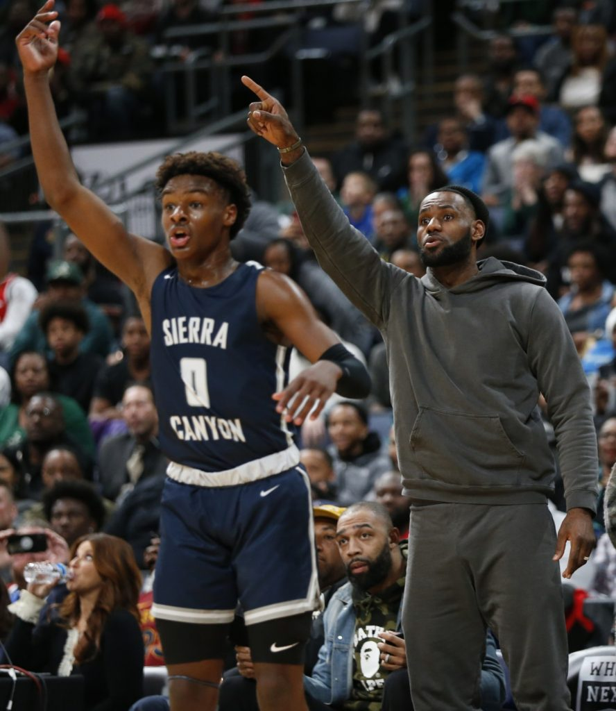 LeBron James sees son Bronny play his best game of season - Los Angeles  Times