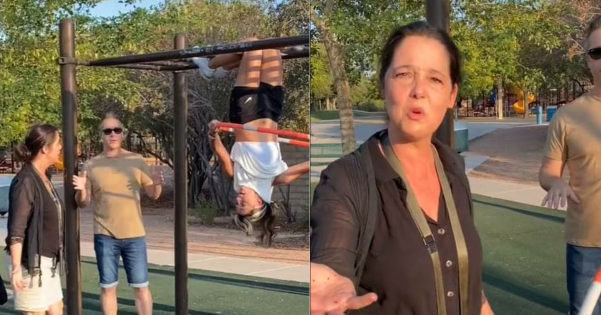 1 50.jpg - Outraged Mother Lambasted Hula Hoop Champion In A Park For Being Half-Naked Because Her Sports Bra And Stomach Were Showing