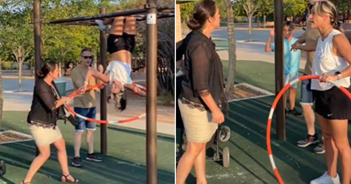 5 1 1.jpg - Furious 'Karen' Slams World Hula Hoop Champion For Flashing Sports Bra Whiling Hanging From Monkey Bars