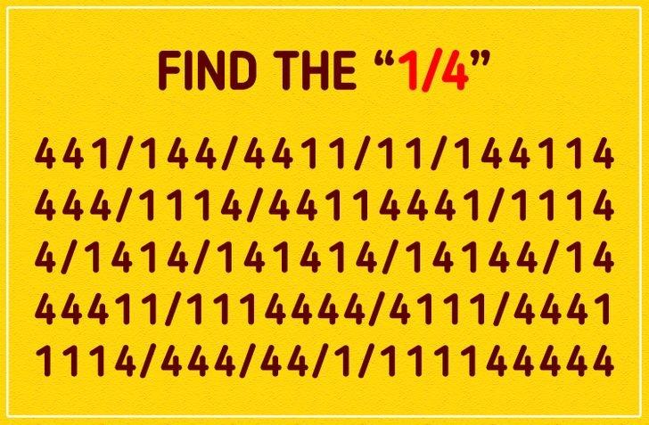 eye test: Find the 1/4