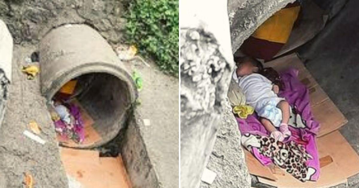 baby6.jpg - Newborn Baby Girl Was Found Sleeping Alone On A Carton Inside A Drainage Pipe