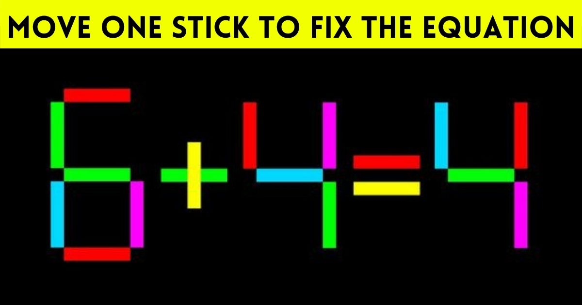 equation2.jpg - Move Just One Stick To Fix The Equation! Can You Solve This Simple Brainteaser?