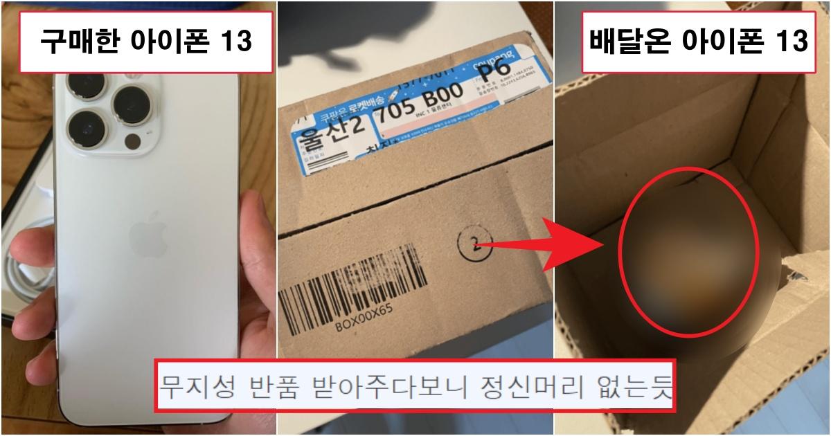 """collage 307.jpg - """"쿠팡에서 아이폰 13 사전예약 했더니, 핸드폰은 안오고 xxx이 왔네요""""(+사진)"""